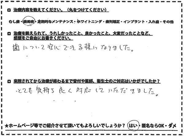 歯周病治療 福岡市南区老司在住 40代男性