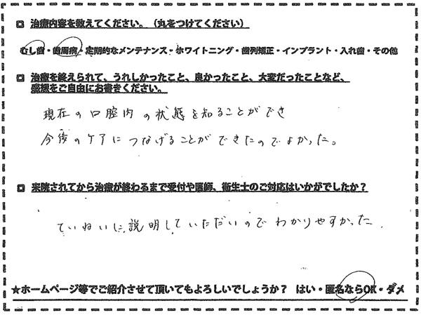 むし歯 歯周病治療 福岡市南区老司在住 40代女性