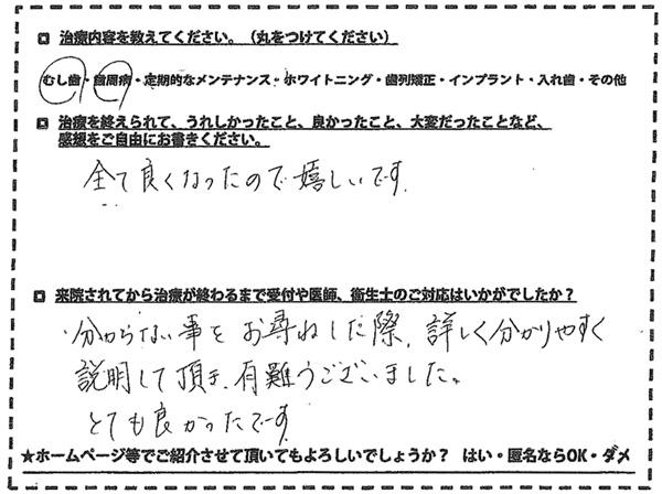 むし歯 歯周病治療 福岡市南区柳瀬在住 40代女性
